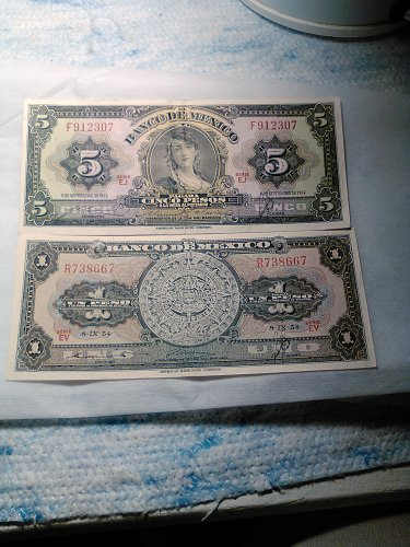 1954 MEXICO ONE AND FIVE PESO NOTES