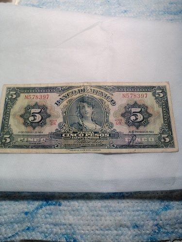 1954 MEXICO FIVE PESO NOTE