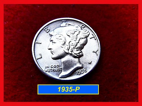 "1935-P  MERCURY DIME ☆""MS-60"" or Better ☆ Very Strong Bands   #3350)•"