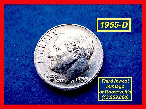 1955-D Roosevelt Dime  Silver Dime   (#3469)