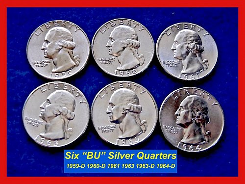 "1959-1963 – LOT of 6 ""BU"" Washington Silver 25¢ ––– (#2297)"