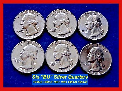 "1959-1963 – LOT of 6 ""BU"" Washington Silver 25¢ ––– (#2297)"