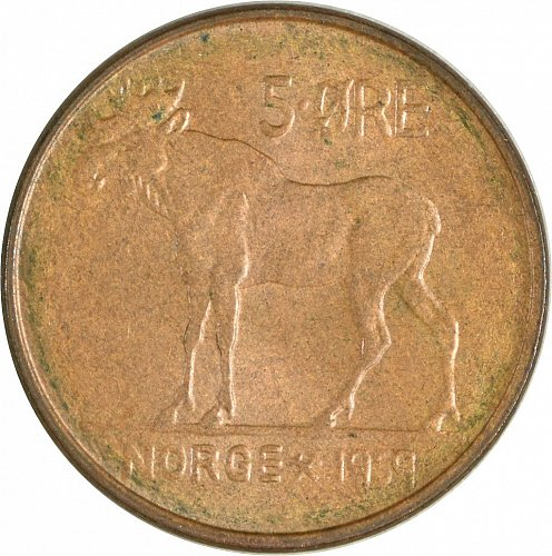 Norway, 5 Ore, 1959  (Item 465)