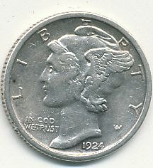 One very nice 1924S, hard to find in this quality, Mercury Dime