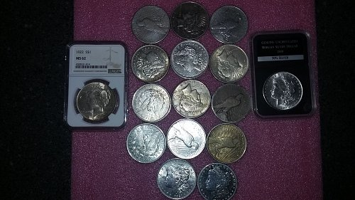 huge lot of 16 Morgan / peace Silver Dollar's