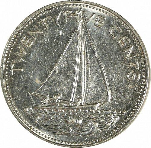 Sailing Away, Bahama Islands, 25 Cents, 1985,  (Item 477)