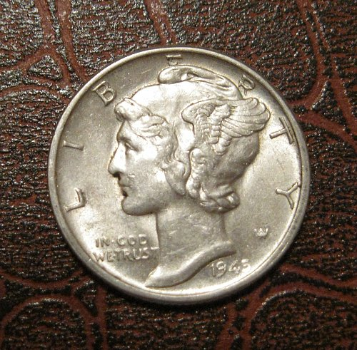 1945 MERCURY DIME, WINGED LIBERTY