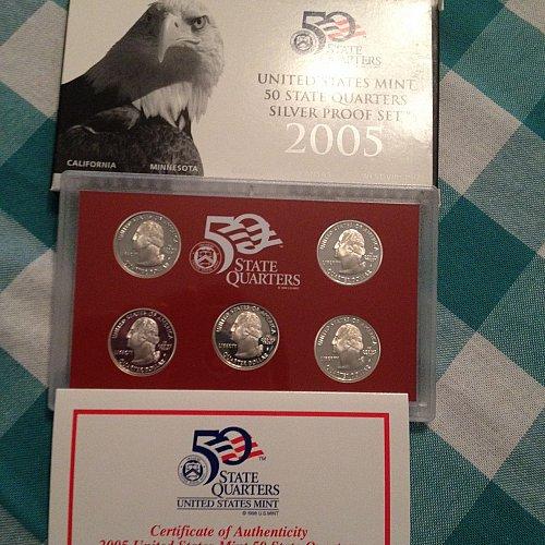 2005 Silver 5 Piece State Quarter Set