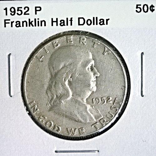 1952 P Franklin Half Dollar - 6 Photos!