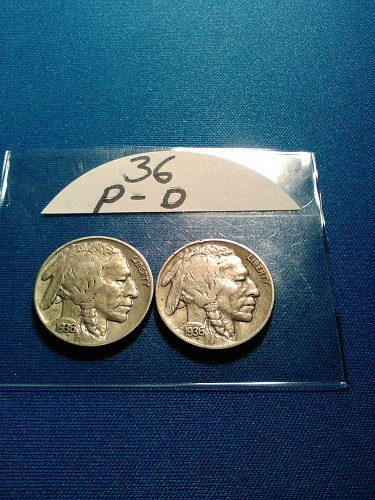 FINE 1936 P AND D BUFFALO NICKELS