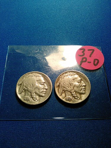 FINE 1937 P AND D BUFFALO NICKELS