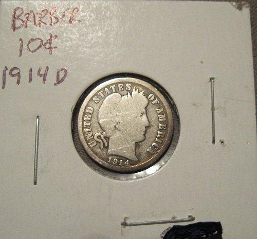 1914 D BARBER DIME / 10 CENT