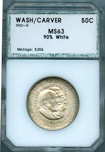 1952-S Washington Carver Commemorative Half Dollar PCI MS63 90% White