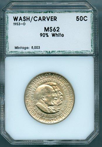 1953-D Washington Carver Commemorative Half Dollar PCI MS62 90% White