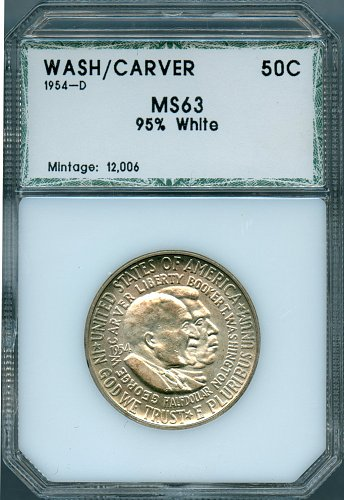 1954-D Washington Carver Commemorative Half Dollar PCI MS63 95% White