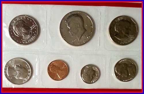 1980-D 7-coin Proof Set in Sealed Packaging