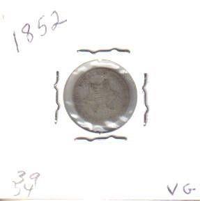 1852  SILVER THREE CENT PIECE