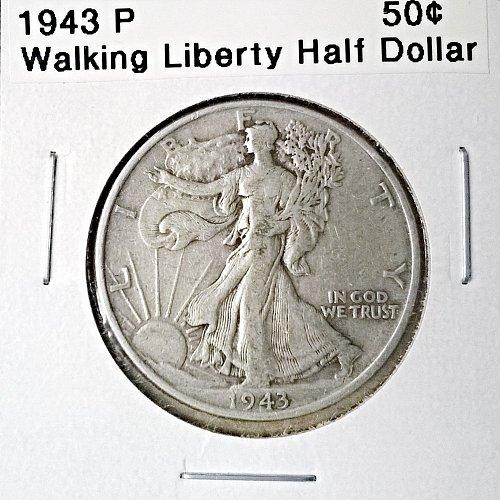 1943 P Walking Liberty Half Dollar - 6 Photos!
