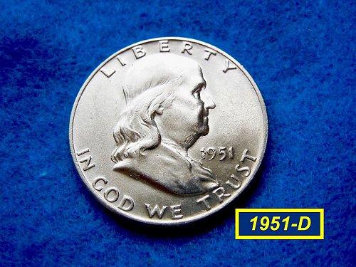 """1951-D  Franklin Half Dollar ––– """"AU""""  Condition   (#1607)"""