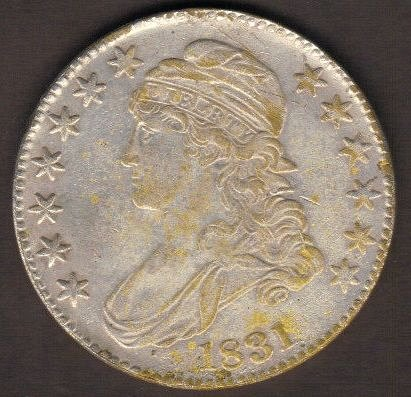 1831 50c Capped Bust Half Dollar VF With Corrosion on Reverse