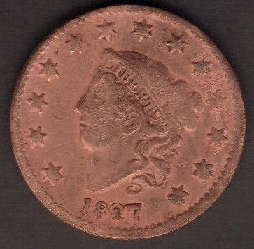 1827 P Coronet Liberty Head Large Cents F-VF Cleaned