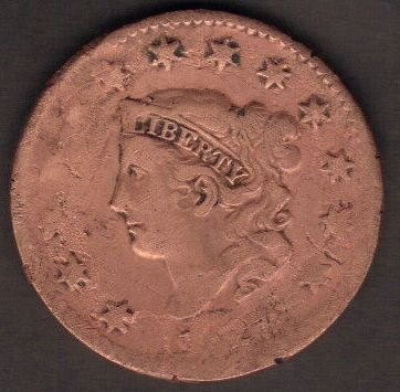 1827 P Coronet Liberty Head Large Cents Good-Cleaned