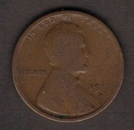 1917 S Lincoln Wheat Cent -VF