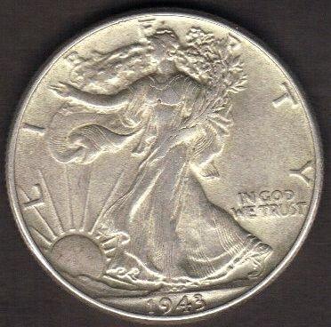 1943 P Walking Liberty Half Dollars MS-60 Or Better