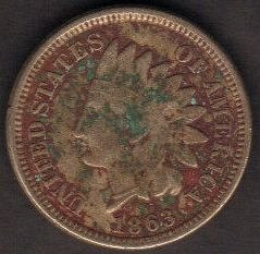 1863 P Indian Head Cent Small Cents-EF 40 Or Better