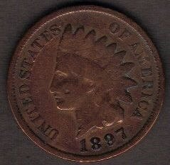 1897 P Indian Head Cent Small Cents Bronze Composite Penny EF 40 Or Better