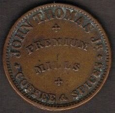 1863 John Thomas Jr Coffee & Spices Albany New York Civil War Token