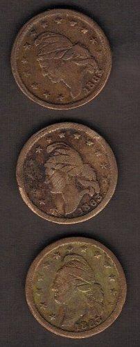 Lot Of (3)1863 Civil War Token,Liberty Cap(Obverse) & Crossed Cannons, Drum,& Fl