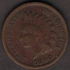 1890 P Indian Head Cent Small Cents Bronze Composite Penny Very Fine Or Better