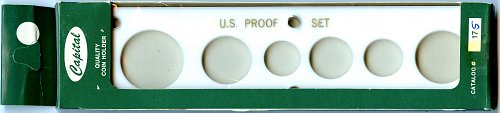 "Capital Plastics ""U.S. Proof Set"" 6-Coin Holder Small Dollar - White - New - 17S"