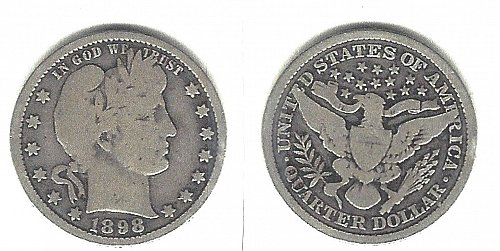 A  very desirable 1898 Barber Quarter from an old old series!
