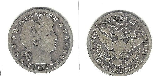 A  very desirable 1916-D Barber Quarter from an old old series!
