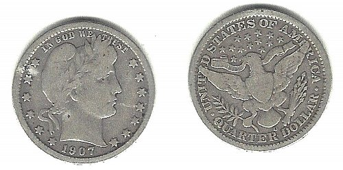 A  very desirable 1907-O Barber Quarter from an old old series!