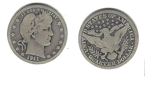 A  very desirable 1911 Barber Quarter from an old old series!