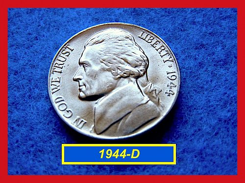 """1944-D Jefferson Silver War  Nickel   ☆  Grades """"MS-64 or Better  ☆  (#6085)"""