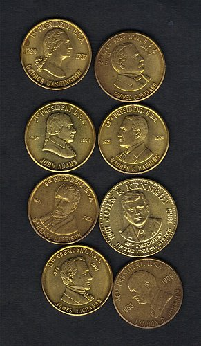 (8 )Total USA Brass Presidential Colletors Tokens,Circa 1960s-1970s