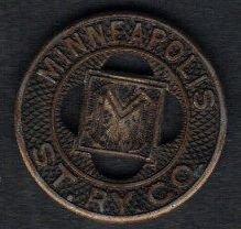 1930s Good for One Fare Minneapolis St. Railway Company Transit Token