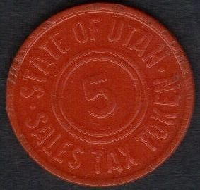 Vintage Plastic Sales Tax Token 1930's Orange Utah 5 cent