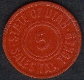 Vintage Plastic Sales Tax Token 1930's Orange Utah 5 cent