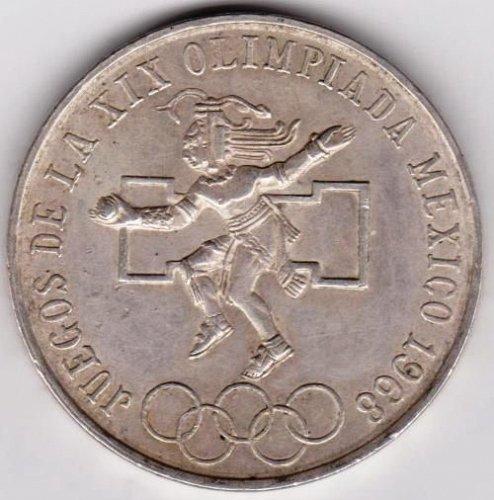 1968 25 Pesos Mexico XIX Olympiada Ley 0.720