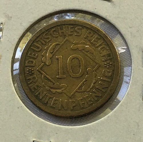 1924 A Germany, Weimar Republic 10 Rentenpfennig