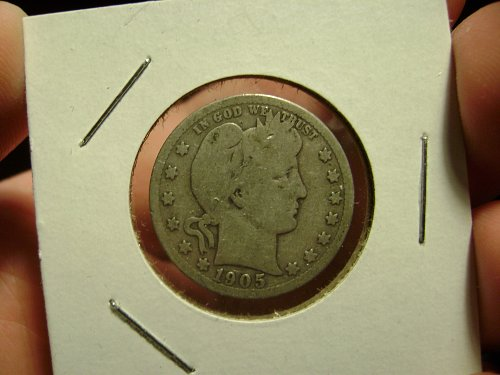 1905-S G Good Barber Quarter Free Shipping