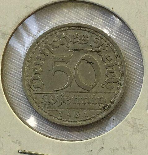 1921 A Germany, Weimar Republic 50 Pfennig