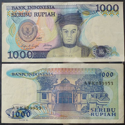 Indonesia 1000 Rupiah Currency Note 1987 Type #124a