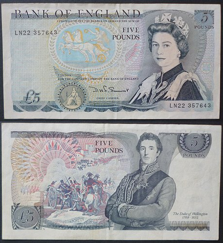 Great Britain 5 Pounds Currency Note 1980- 1988 Type #378c