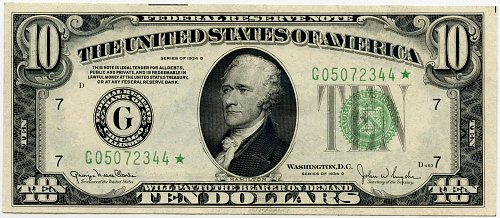 1934 D $10.00 Federal Reserve Note - F2009-G Star Note XF/AU